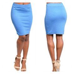 Pretty Blue Skirt  Stretch fit bandage mini skirt in blue. 68% Rayon 32% Polyester. B5. Skirts Mini