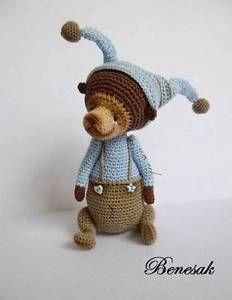 Thread artist crochet miniature Bear Doll by Benesak