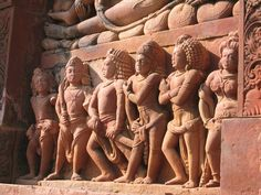 """""""It is ridiculous to think you can spend your entire life with just one person. Three is about the right number. Yes, I imagine three husbands would do it."""" — Clare Boothe Luce (1903-1987) Attributed — Image: Dashavatara Temple in Deogarh, India. Draupadi (far right) with her five husbands, from the Mahābhārata. — #clarebootheluce, #husbands, #marriage, #polyandry, #quoteoftheday"""
