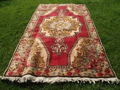 Kilim Rug Red 4x7 ft Vintage Turkish Rug #floorrug #redrug #turkishrug #kilim #oushak #kilimrug #rugs