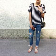 tifmys - H&M shirt, A.P.C. Half-moon bag, Zara denim & Asos sandals.