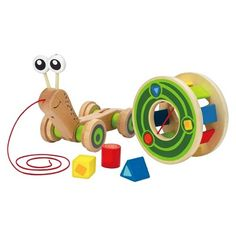 Award Winning Hape Walk-A-Long Snail Toddler Wooden Pull Toy (Renewed) Old Fashioned Toys, Hape Toys, Pull Along Toys, Wooden Baby Toys, Shops, Christmas Catalogs, Pull Toy, Toy Sale, Building Toys