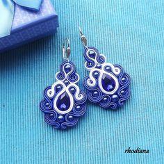 Items similar to Sapphire- Soutache earrings on Etsy Soutache Necklace, Beaded Earrings, Clip On Earrings, Earrings Handmade, Handmade Jewelry, I Love Jewelry, Jewelry Making, Soutache Tutorial, Quilling Jewelry