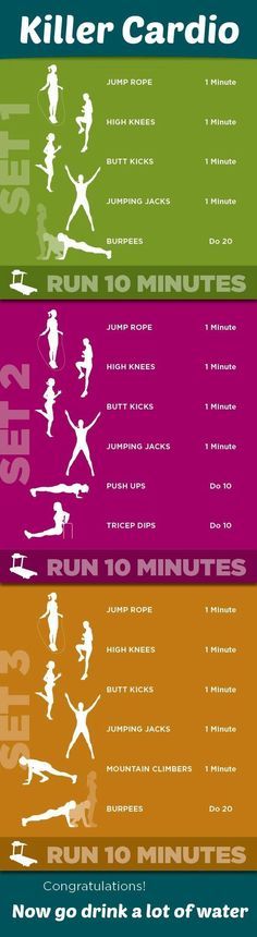 Killer Cardio Workout Want to loose a little extra weight before bikini season? Then try this Killer Kardio workout, perfect to help you burn fat and get into shape! Sport Fitness, Body Fitness, Fitness Diet, Fitness Motivation, Health Fitness, Fitness Plan, Workout Fitness, Fitness Quotes, Workout Days