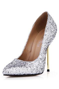 Sapatos de Salto Salto agulha Férias de lua de mel Toe bicudo Material do sequin