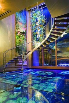 This entry way makes quite a splash---♥ it or leave it?  #stairs #staircase #ocean #entryway #homes