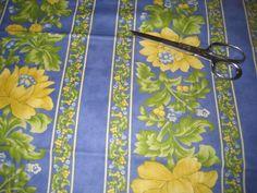 "April Cornell Cotton Sunshine Fabric Blue Floral Stripe 44"" x 1 Yard   eBay"