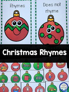 Christmas Rhyming game for Pre-K and Kindergarten Rhyming Activities, Christmas Activities, Christmas Themes, Winter Activities, Retro Christmas, Kindergarten Centers, Kindergarten Literacy, Preschool Learning, Preschool Ideas