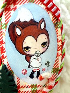 Lollipop Fox Wooden Handmade Christmas Ornament  by Kelly Ann (The Poppy Tree)