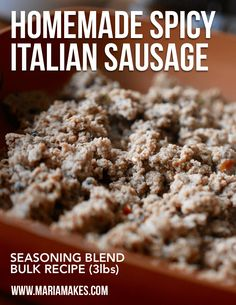 Homemade Spicy Italian Sausage Seasoning Blend Maria Makes Wholesome Simple Recipes for Every Day # Spicy Italian Sausage Recipe, Italian Sausage Seasoning, Chicken Sausage Recipes, Homemade Sausage Recipes, Homemade Breakfast Sausage, Italian Chicken Sausage, Spicy Sausage, Homemade Spices, Sausage Mix Recipe