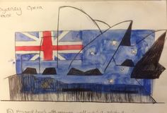 combining a biro drawing of a building with the National flag for The Multicultural Project. At Marys Catholic High School
