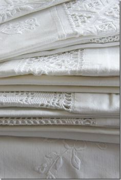 Fine White Linen ~ Fresh Farmhouse linens and lace Linen Fabric, Linen Bedding, Bed Linens, Linen Cupboard, White Cottage, Linens And Lace, Fine Linens, Vintage Textiles, Vintage Lace