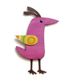 Whimsical Wood Bird Modern Folk Art Wall Art Berry Color by aveModern on Etsy