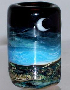 WSTGA~SEASIDE MOON~OCEAN European charm handmade lampwork focal glass bead SRA By Molly Cooley