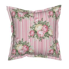 Serama Throw Pillow featuring Pretty Shabby Chic Rose Pink by thatsgraphic | Roostery Home Decor