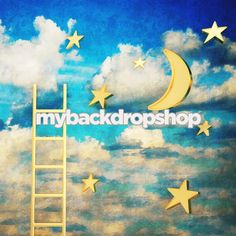 4ft x 4ft Dreamy Moon and Stars with Ladder by MyBackdropShop, $38.99