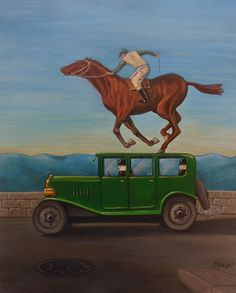 Entitled 'Horsing Around' This painting features two Fred's in the vintage green car. The jockey has been seen in a number of Magritte paintings his best being 'Wrath Of The Gods'. My painting is done with acrylic on canvas.