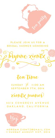 Bridal Shower Tea Party Invite - preview!