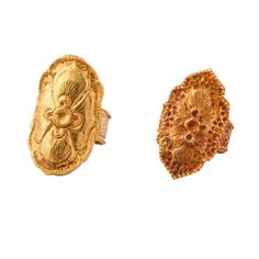 A Pair of Repousse Gold Rings  Liao Dynasty  916 - 1125