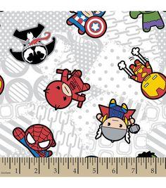 Marvel Kawaii Superhero Toss Flannel Fabric