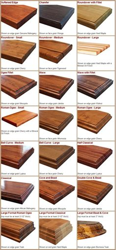 70861394111177260 Edge Styles available for solid wood countertops, kitchen island tops, and butcher block countertops.png For bar top? Kitchen Corner, Kitchen Redo, Kitchen Design, Kitchen Island, Kitchen Ideas, Island Bar, Kitchen Modern, Solid Wood Countertops, Kitchen Countertops