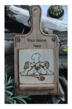 Personalized recipe board, Wood burned recipe holder, Bull dog artwork, Chef dog kitchen décor, Gift for dog lovers, Chef lover gift