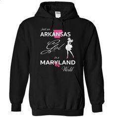 ARKANSAS GIRL IN MARYLAND WORLD - #statement tee #tshirt display. MORE INFO => https://www.sunfrog.com/LifeStyle/ARKANSAS_MARYLAND-Black-75955866-Hoodie.html?68278