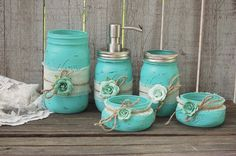 Mason Jar Bathroom Set Aqua Shabby Chic Soap by TheVintageArtistry