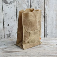 The Marlowe Lunchbag: Waxed Canvas in Tumbleweed by Peg and Awl