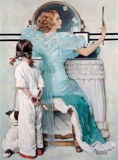 Going Out, October 21, 1933.  Whatever the circumstances, the woman's daughter, on her way to bed, is clearly not happy about being excluded from the events that are about to unfold, but Rockwell leaves to our imagination whether she is staring at her mother in disgust or gazing in admiration.