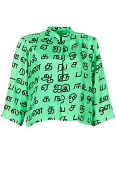 Green tamil print short jacket available only at Pernia's Pop-Up Shop.