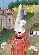 burgundian-gown- showing front opening below the belt.