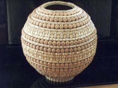 maybe around some gourd bowls Wine Craft, Wine Cork Crafts, Bottle Crafts, Wine Cork Projects, Wine Bottle Corks, Bottles, Wine Cork Art, Cork Ornaments, Wine And Beer