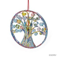 Quilled Tree of Life Ornament, Ornaments: Serrv International Recycled Magazine Crafts, Recycled Paper Crafts, Recycled Magazines, Newspaper Crafts, Paper Tree, Handmade Ornaments, Ornament Crafts, Handmade Cards, Paper Quilling