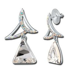 Aigu » --- Boucles d'oreilles en Cristal Autrichien (Transparent)  Description: Boucles d'oreilles toute spéciales en alliage plaqué or blanc. La partie en tête est en forme que deux nouvelles lunes croisantes, de petits cristaux transparents avec reflet multicolore sont sertis là-dessus. Une partie incrustée d'un grand Cristal Autrichien triangle est suspendue. Les angles aigus donnent l'énergie et la confiance.