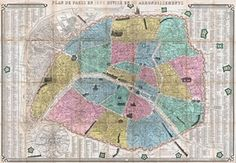 Map of Paris in 1863 Divided into Twenty Arrondissements, 1863