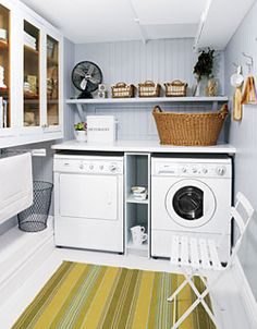 I like the shelves between the washer and dryer...plus the fan is cute!