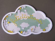 Carte de félicitations pour une naissance nuage à secouer bleu vert : Cartes par chez-les-z