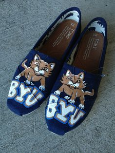 BYU college hand painted toms by InSensDen on Etsy