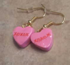 Sweet Conversation Hearts Inspired Wire Earrings sold by Unique Baskets and Gifts. Shop more products from Unique Baskets and Gifts on Storenvy, the home of independent small businesses all over the world. Diy Clay Earrings, Funky Earrings, Earrings Handmade, Handmade Jewelry, Heart Earrings, Gold Earrings, Weird Jewelry, Funky Jewelry, Cute Jewelry