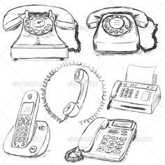 Set of Sketch Telephones