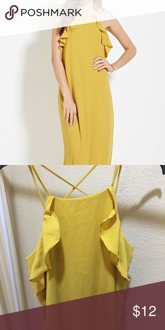 Yellow flutter detail maxi dress Long yellow maxi dress with flutter ruffle detail at shoulder. Spaghetti straps with cross cross in back. Size L Forever 21 Dresses Maxi