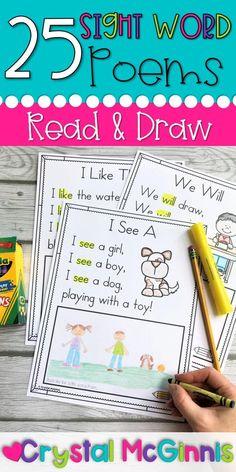 Kindergarten Poems, Preschool Poems, Beginning Of Kindergarten, Kindergarten Reading Activities, Kindergarten Language Arts, Preschool Lessons, Kids Poems, First Grade Poems, First Grade Phonics