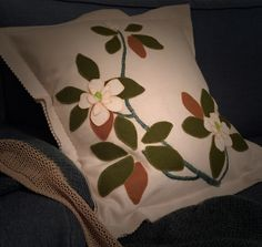 Blooming for Mothers Day @birdiebrown new Magnolia wool applique kit available soon a@ birdiebrown.co.nz #embroidery #applique Applique Cushions, Wool Applique, Embroidery Applique, Magnolia, Mothers, Bloom, Reusable Tote Bags, Throw Pillows, Pure Products