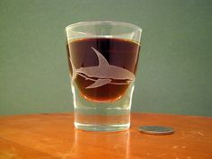 Great White Shark Etched Shot Glass by DancesWithMonsters on Etsy, $8.00 Bar Geek, Drinkware, Barware, Cocktails On The Rocks, Engraved Glassware, Personalized Beer Glasses, Cocktail Glassware, Wedding Toasting Glasses, Bar Cart Styling