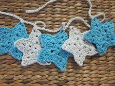 lolli & bean - crochet star garland - blue & grey