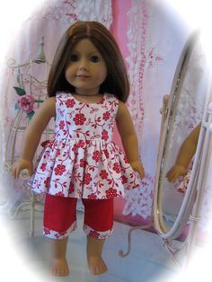 Capri Set made to fit 18 inch American Girl Doll by MenaBella, $16.95