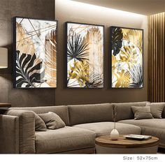 Nordic Plants Golden Leaf Canvas Painting Botanical Posters and Print Abstract Wall Art Pictures for Living Room Modern Decor Living Room Pictures, Wall Art Pictures, Painting Pictures, Art Feuille D'or, Reproductions Murales, Images D'art, Wall Art Decor, Room Decor, Gold Leaf Art