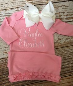 Monogrammed gown and bow baby girl coming home outfit by skkilby21