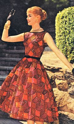 A vibrant, delightful fire hued pattern from Bates Fabrics, 1957. #vintage #1950s #dresses